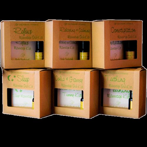 boxes of infant massage kits