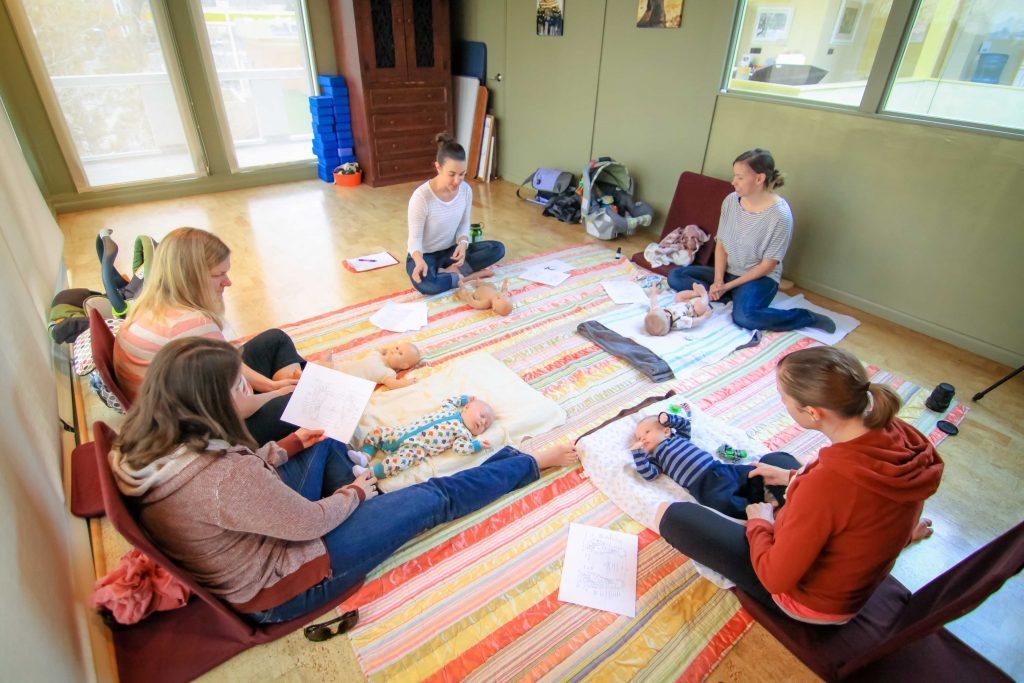 Families in an Infant massage class